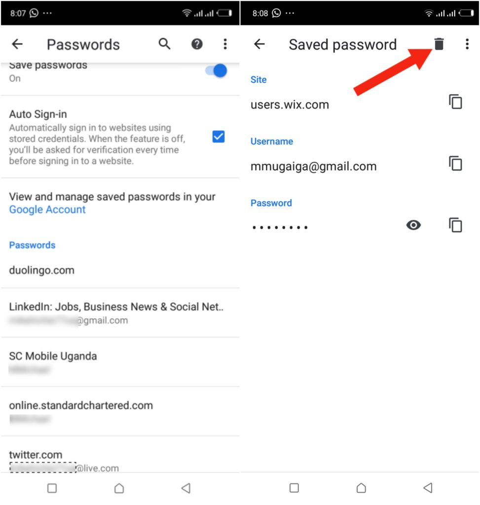 saved password chrome