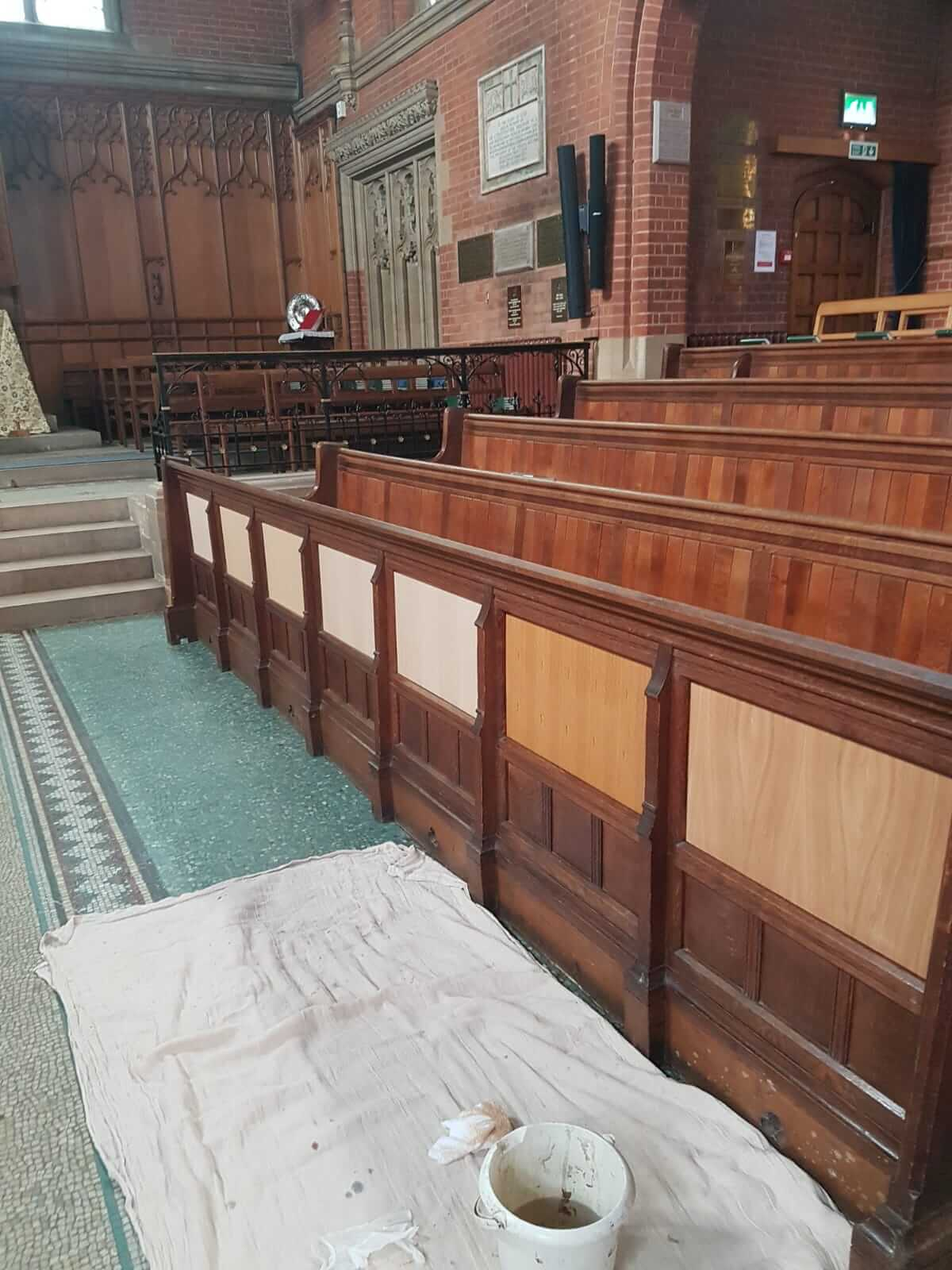 Church Interior Timber Panelling before restoration