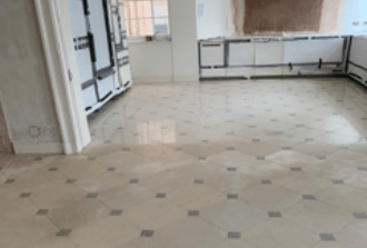 Tiled floor after cleaning and polishing