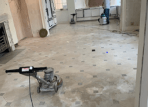 Tiled floor before cleaning and polishing