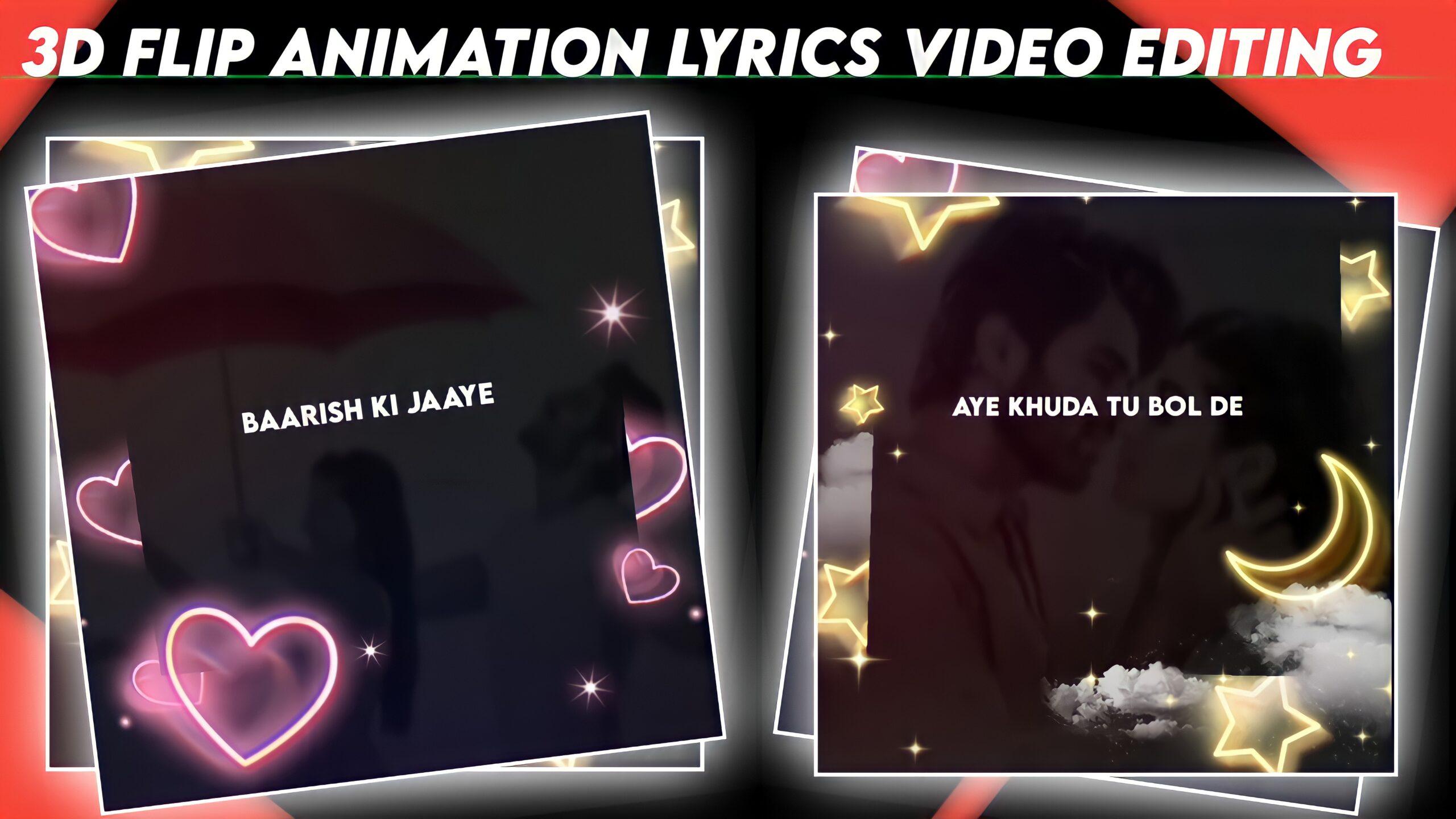 3D flip Animation Lyrics Editing in cupCut.