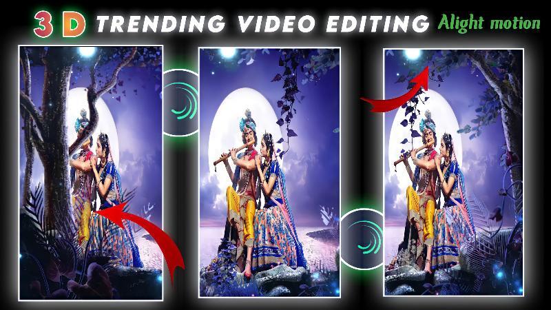 3D trenidng, Radha Krishna, Status video editing, in Alight motion.