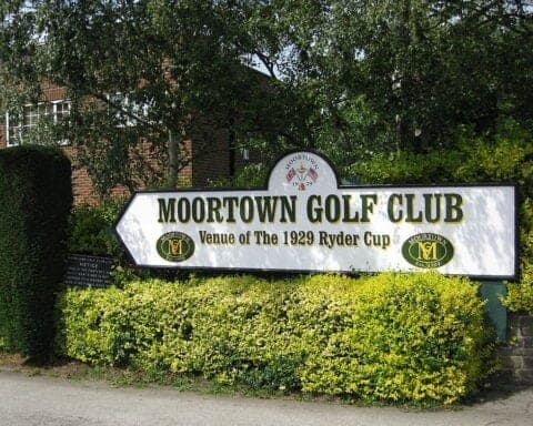Sign outside Moortown Golf Club in Yorkshire