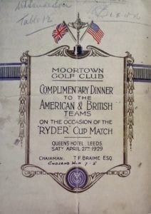 A menu from the 1929 Ryder Cup at Moortown Golf Club