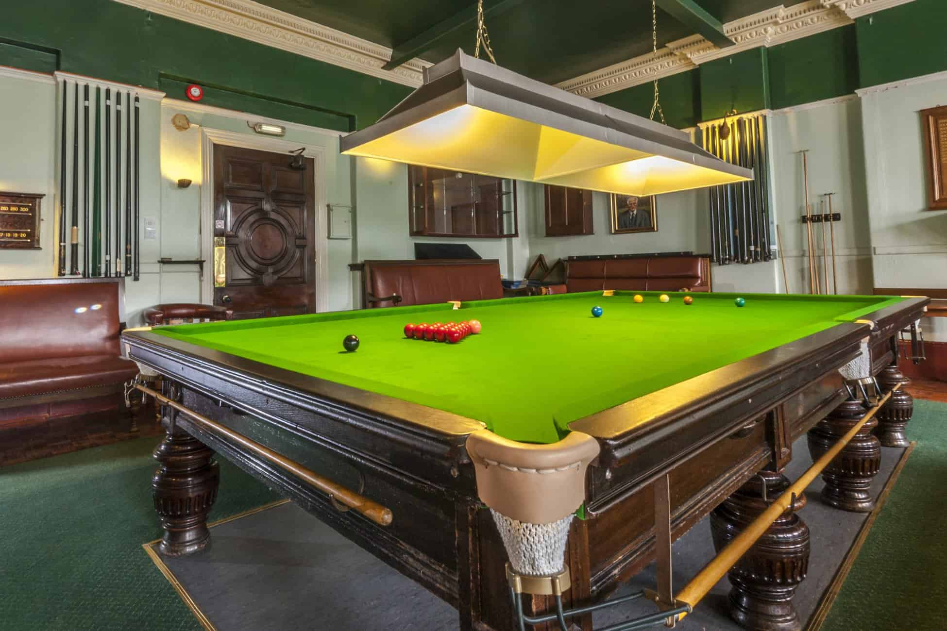 The snooker room at Formby Golf Club