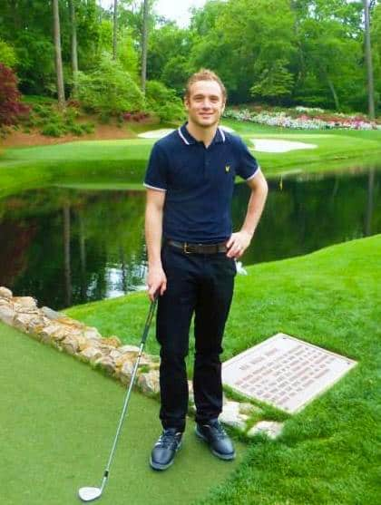 Jamie on the iconic 12th at Augusta National