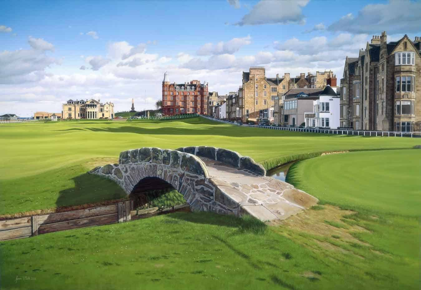 The Swilcan Bridge and the Old Course, St Andrews