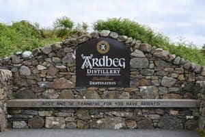The bench which greats you at Ardbeg distillery