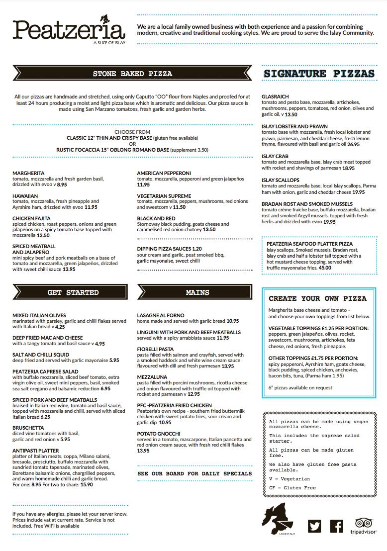 Peatzeria menu, Islay