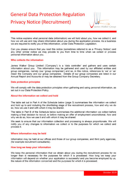 General Data Protection Regulation Privacy Notice (Recruitment)
