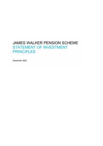 James Walker pension scheme statement of investment principles