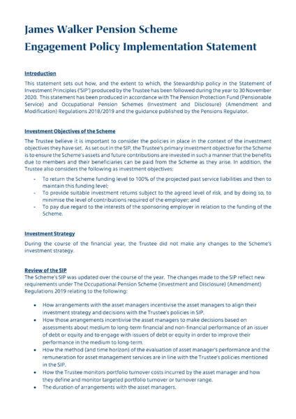 James Walker Pension Scheme - Engagement policy implementation statement
