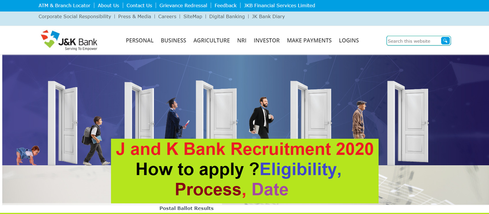 J and K Bank po requirement