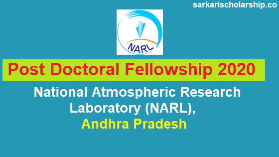 National Atmospheric Research Laboratory (NARL) Post Doctoral Fellowship 2020