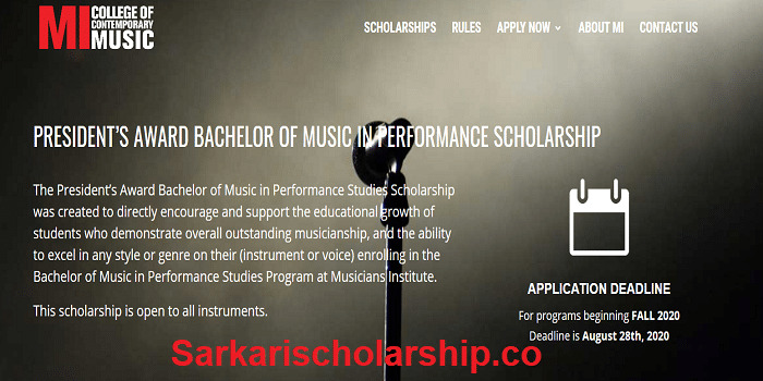 President's Award Vocal Scholarship 2020 Apply now