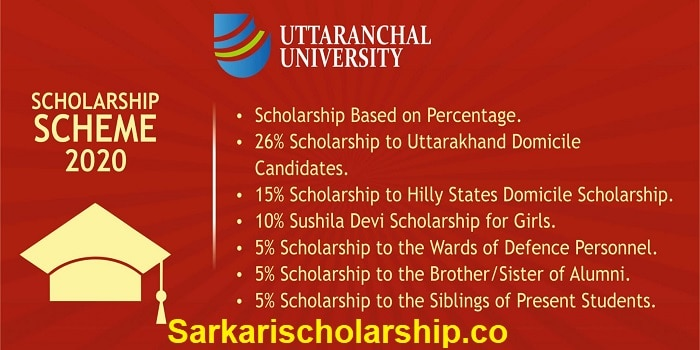 Uttaranchal University Scholarship Scheme 2020-2021 Apply now
