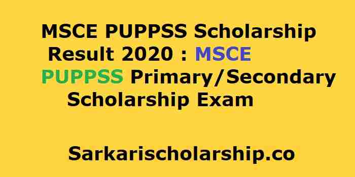 MSCE PUPPSS Scholarship Result 2020 MSCE PUP PSS Primary Secondary Scholarship Exam