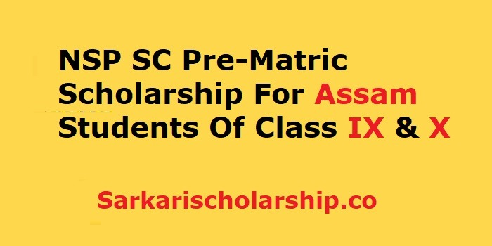 NSP SC Pre-Matric Scholarship For Assam Students- eligibility, last date, how to apply