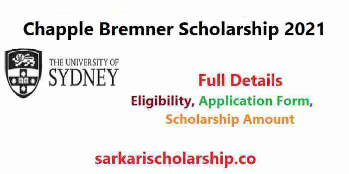 University of Sydney Chapple Bremner Scholarship 2021