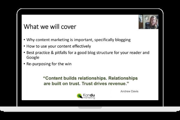 Blogging for Business Masterclass Kandu Marketing
