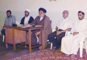 Bilal Muslim Mission Centre Temeke - Dar es Salaam 1996. From left to right: Alhaj Murtazabhai Jivraj (Kerbala) the then Committee Member of Bilal Muslim Mission, Sheikh Badeii Principal of Bilal Hawza, Hujjatul Islam Allama Syed Saeed Akthar Rizvi Chief Missionary of Bilal Muslim Mission, Alhaj Pyaralibhai Shivji Chairman of Bilal Muslim Mission of Tanzania and Sheikh Qabi Nasab Principal of Hawza.