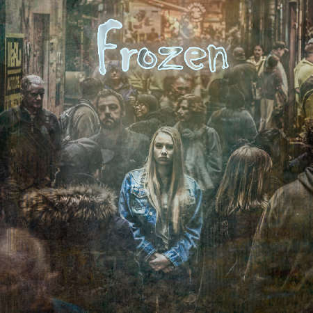 """Artwork of """"Frozen"""": a music track from Edouard Andre Reny, where a crystalline female vocal guides the listener into a punchy electro-pop chart hit, with guitars, bass, synths and drums. Catchy hooks make you want to jump around full of energy!"""