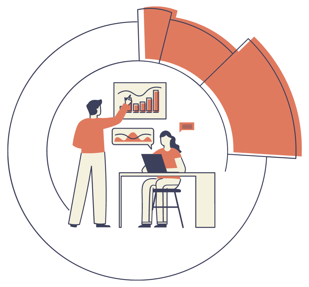 An illustration of a male and female SEO team working