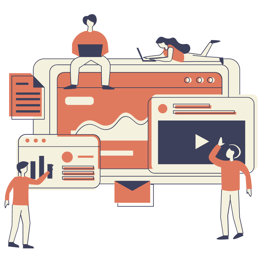 Illustration of a UK SEO agency working