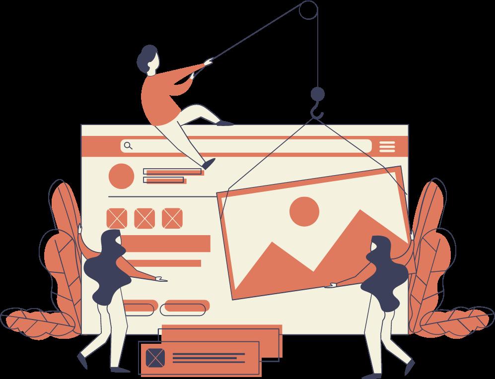 Illustration of an SEO team improving a website