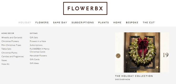 Navigation of the Flowerbx desktop website