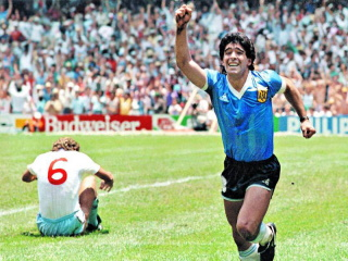 Diego Maradona celebrating