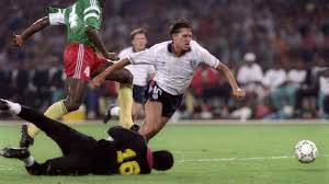 Gary Lineker getting brought down for a penalty against Cameroon