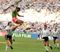 Omam Biyik scoring against Argentina