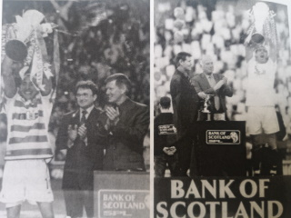 Lex Gold presenting the SPL Trophy to Celtic and Rangers