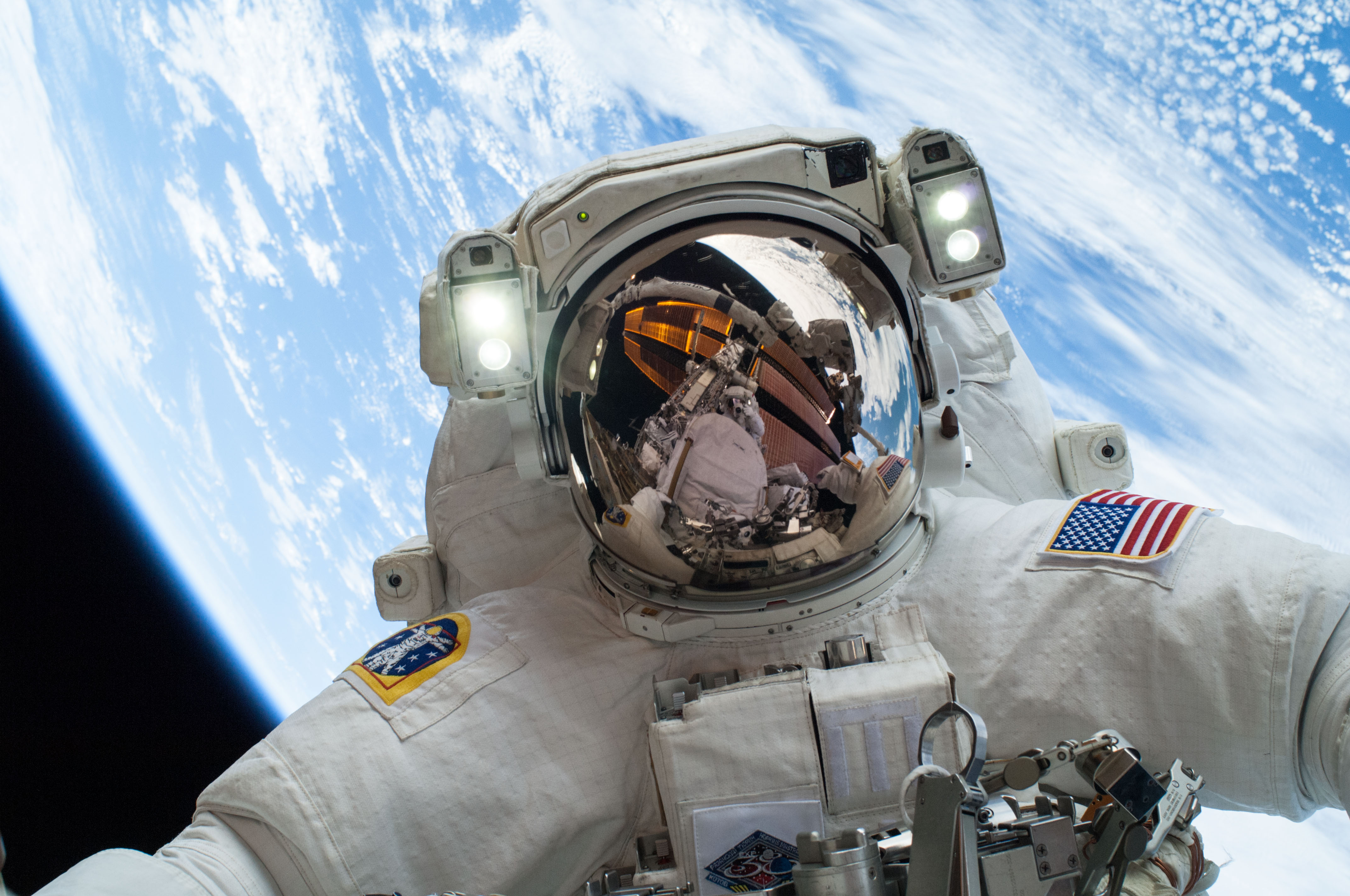 why do astronauts float in space