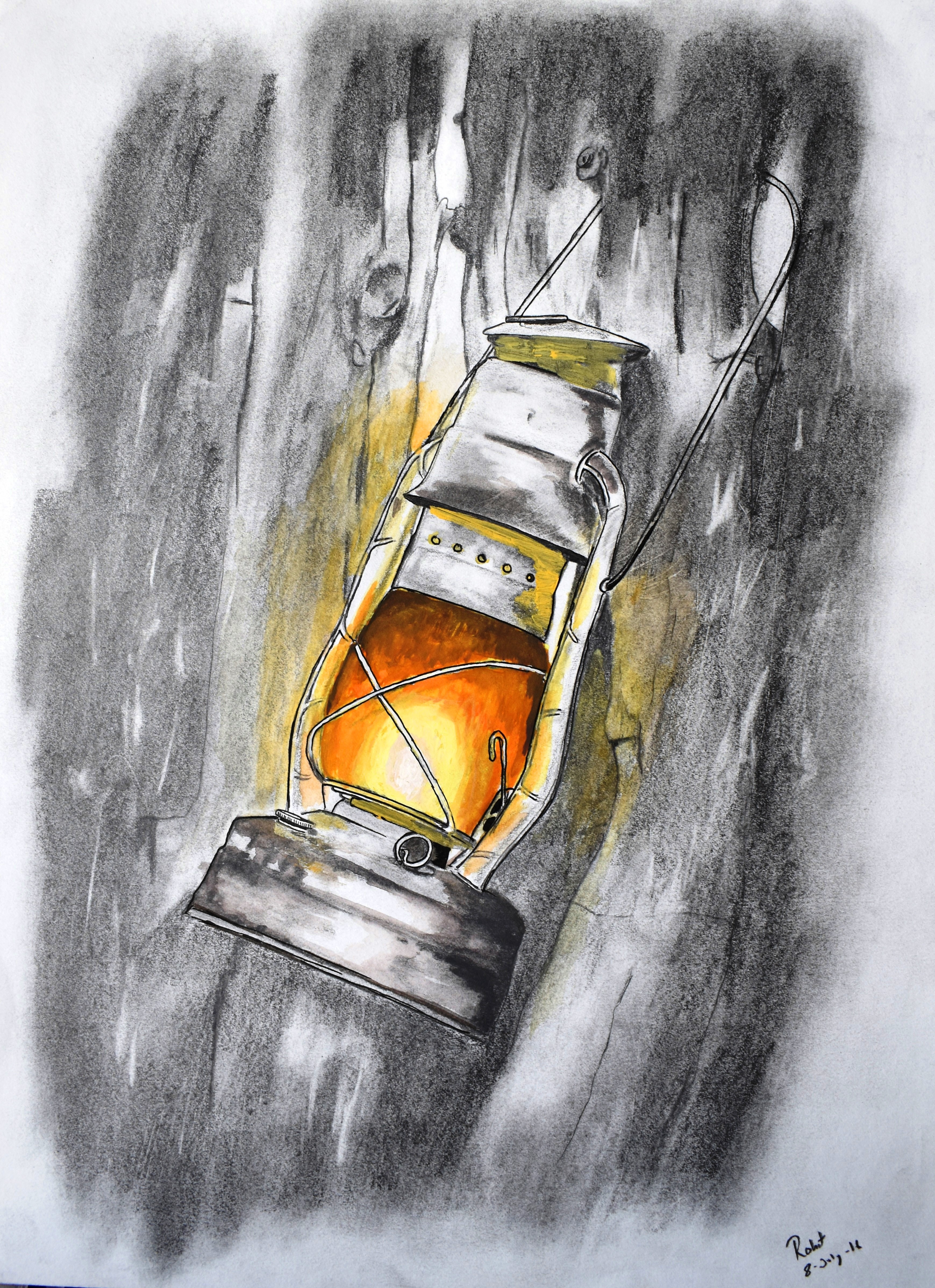 Lamp Light,  200 GSM PAPER, 12″ x 18″  CHARCOAL / WATERCOLOUR.