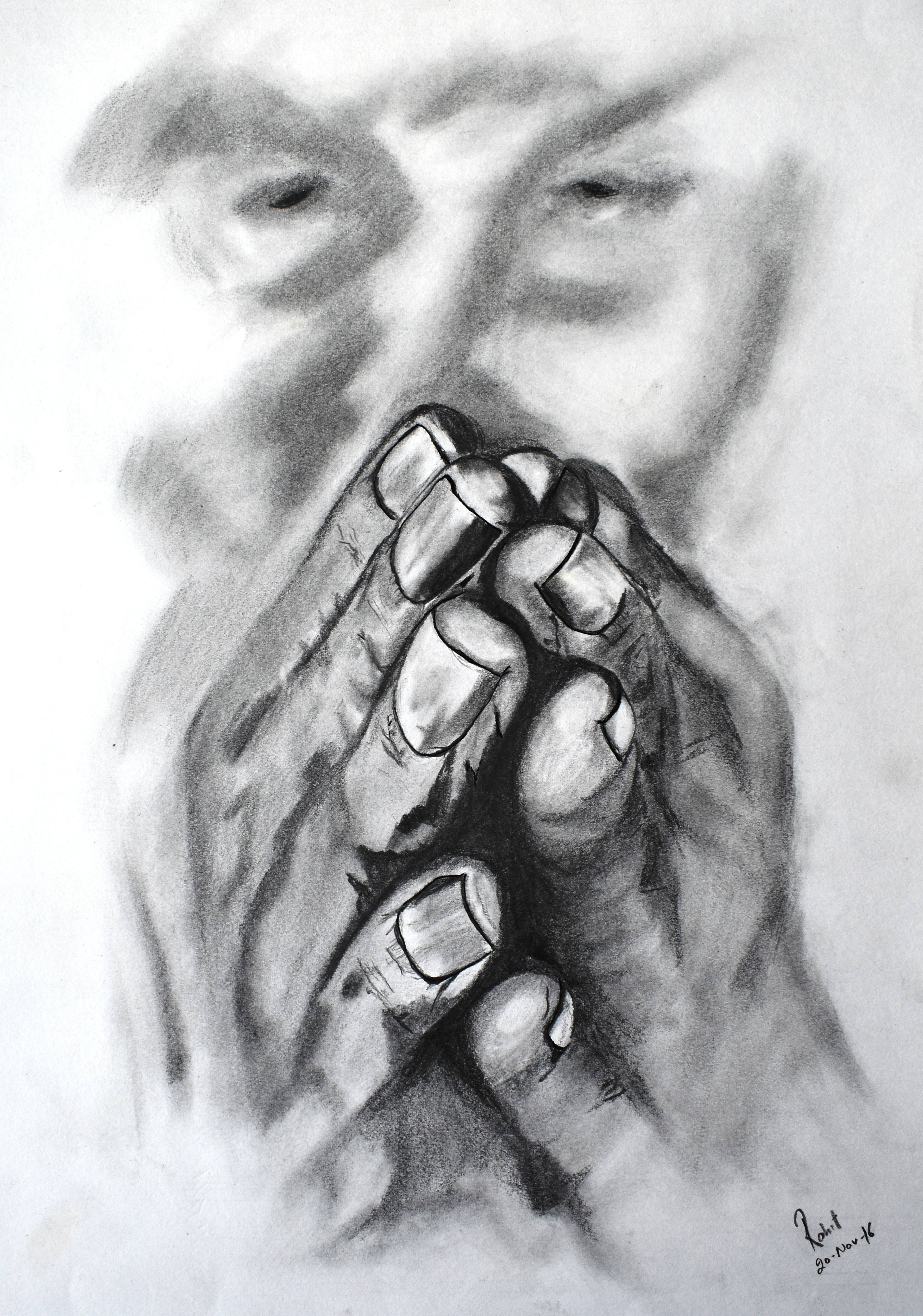 Chanting Hands,  200 GSM PAPER, 12″ x 18″ CHARCOAL