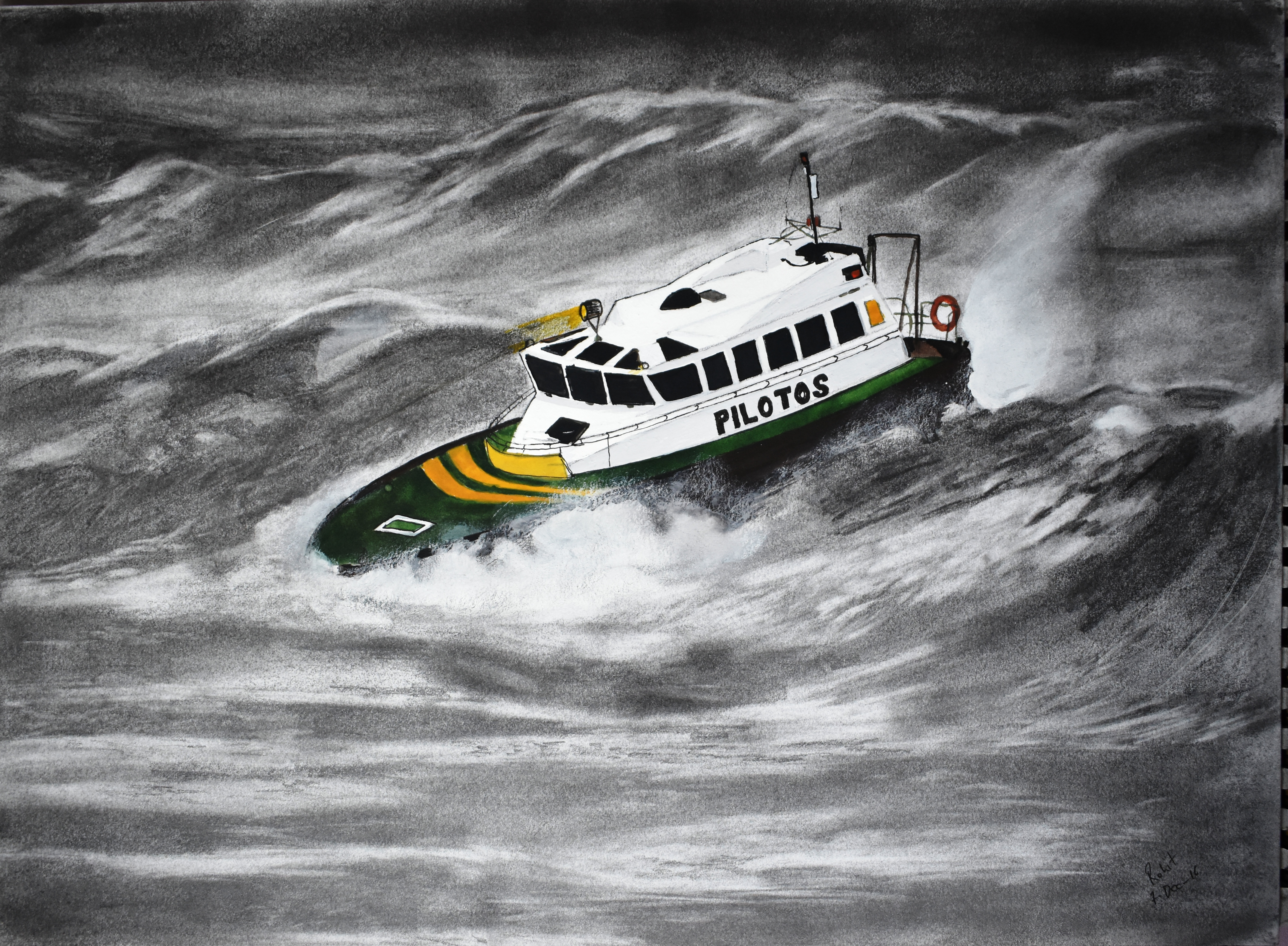 Boat in Storm  200 GSM PAPER, 12″ x 18″  CHARCOAL / WATERCOLOUR.