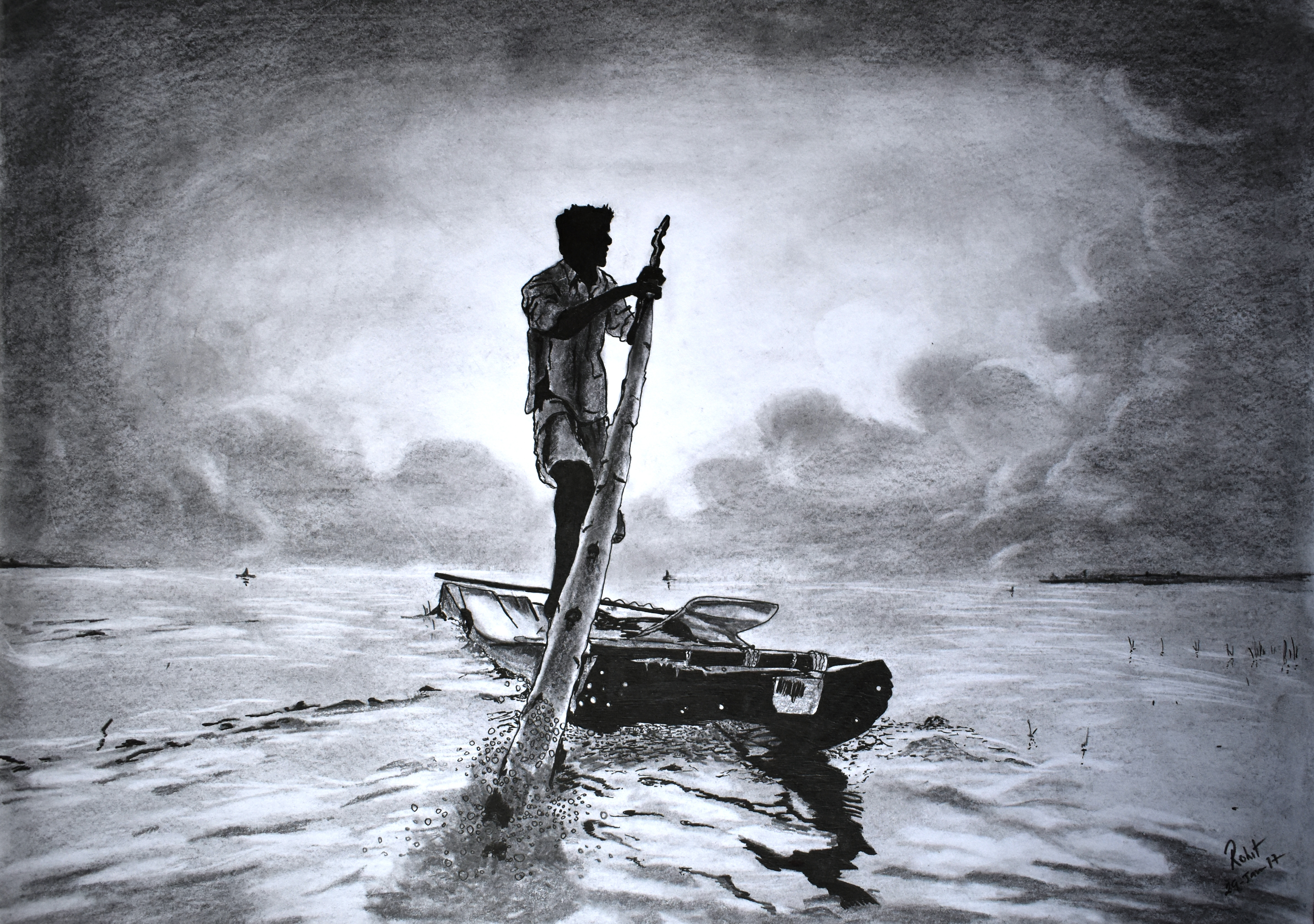 fisherman on Boat, 200 GSM PAPER, 12″ x 18″ CHARCOAL