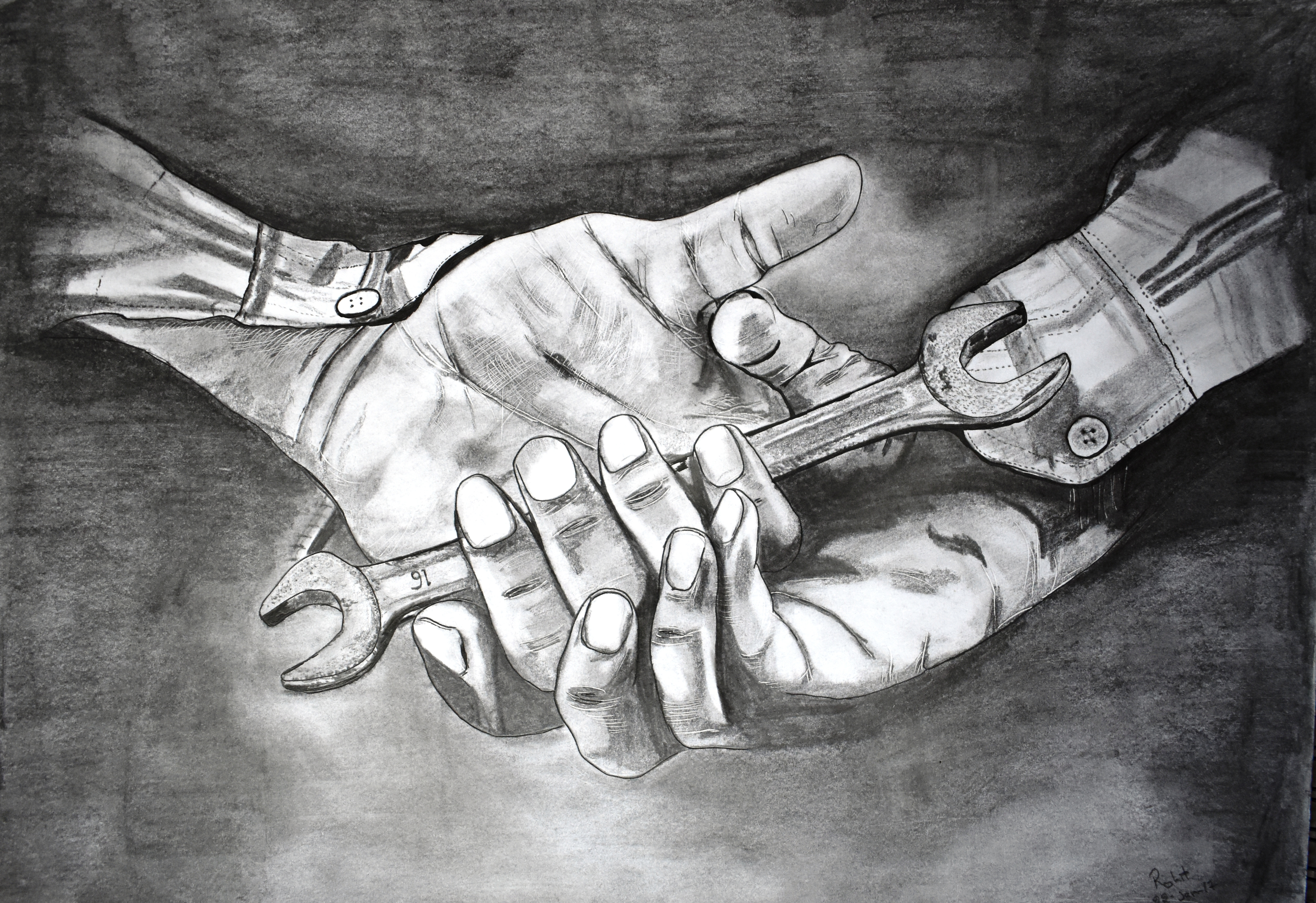 Worker Hands, 200 GSM PAPER, 12″ x 18″ CHARCOAL