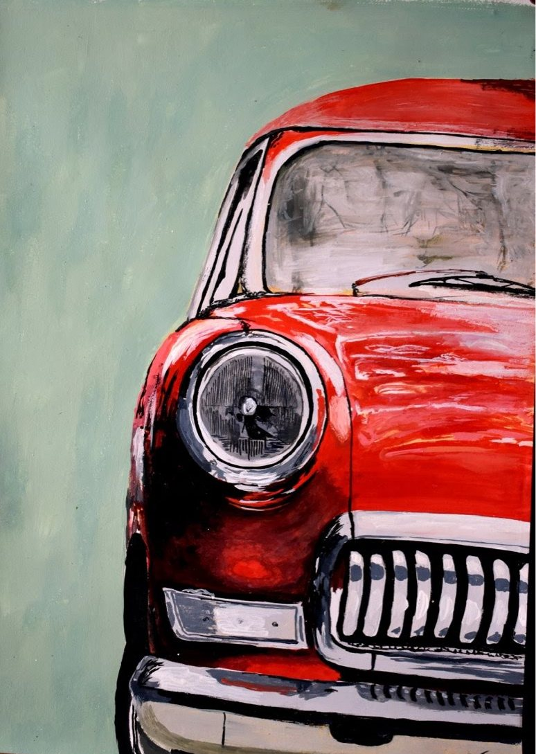 "Red Car Vintage, 200 GSM PAPER, WATERCOLOUR 12"" x 18"""