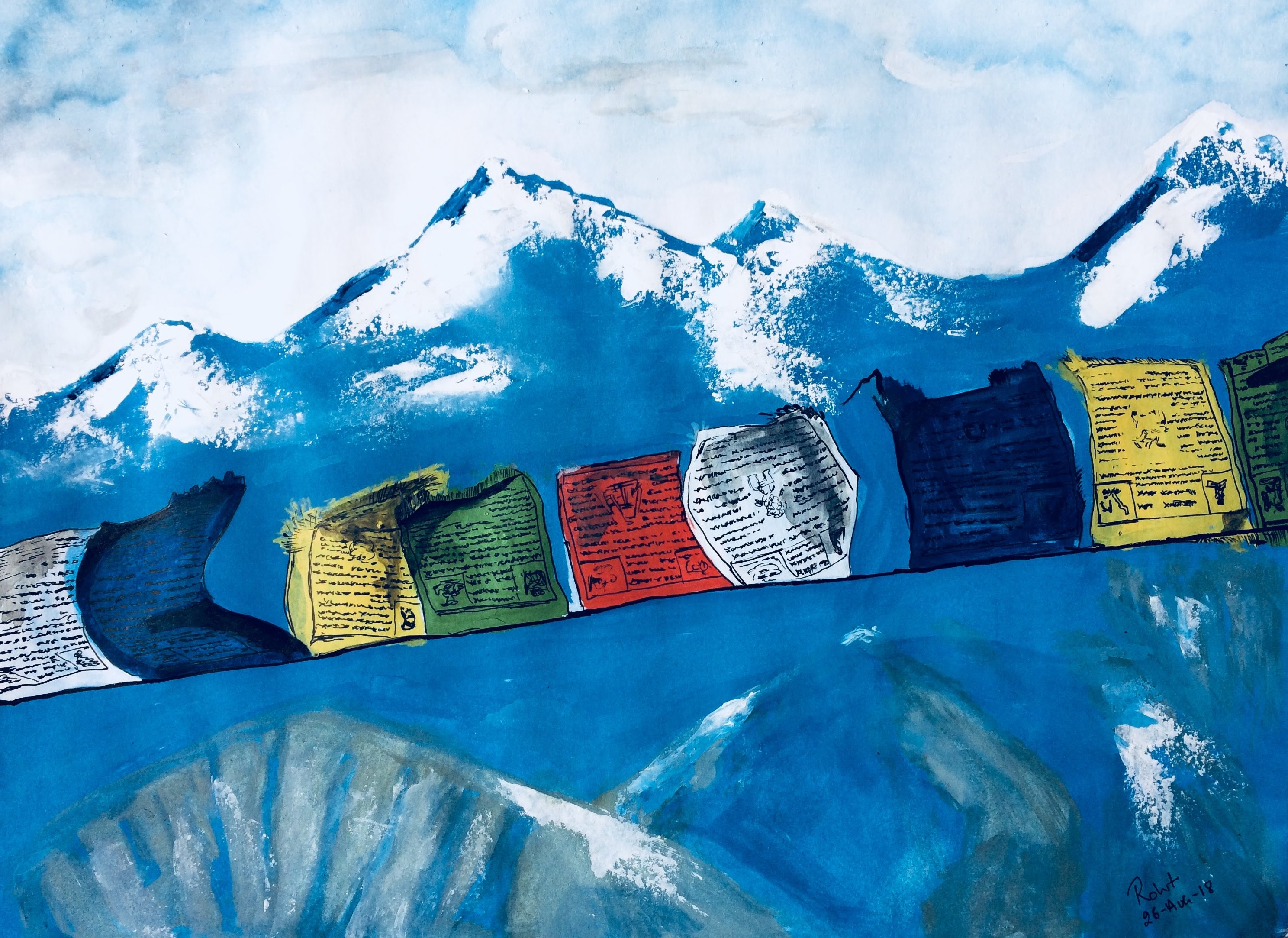 """Prayer Flags, Water Colour, 200gsm Paper, Size - 6"""" x 8"""""""