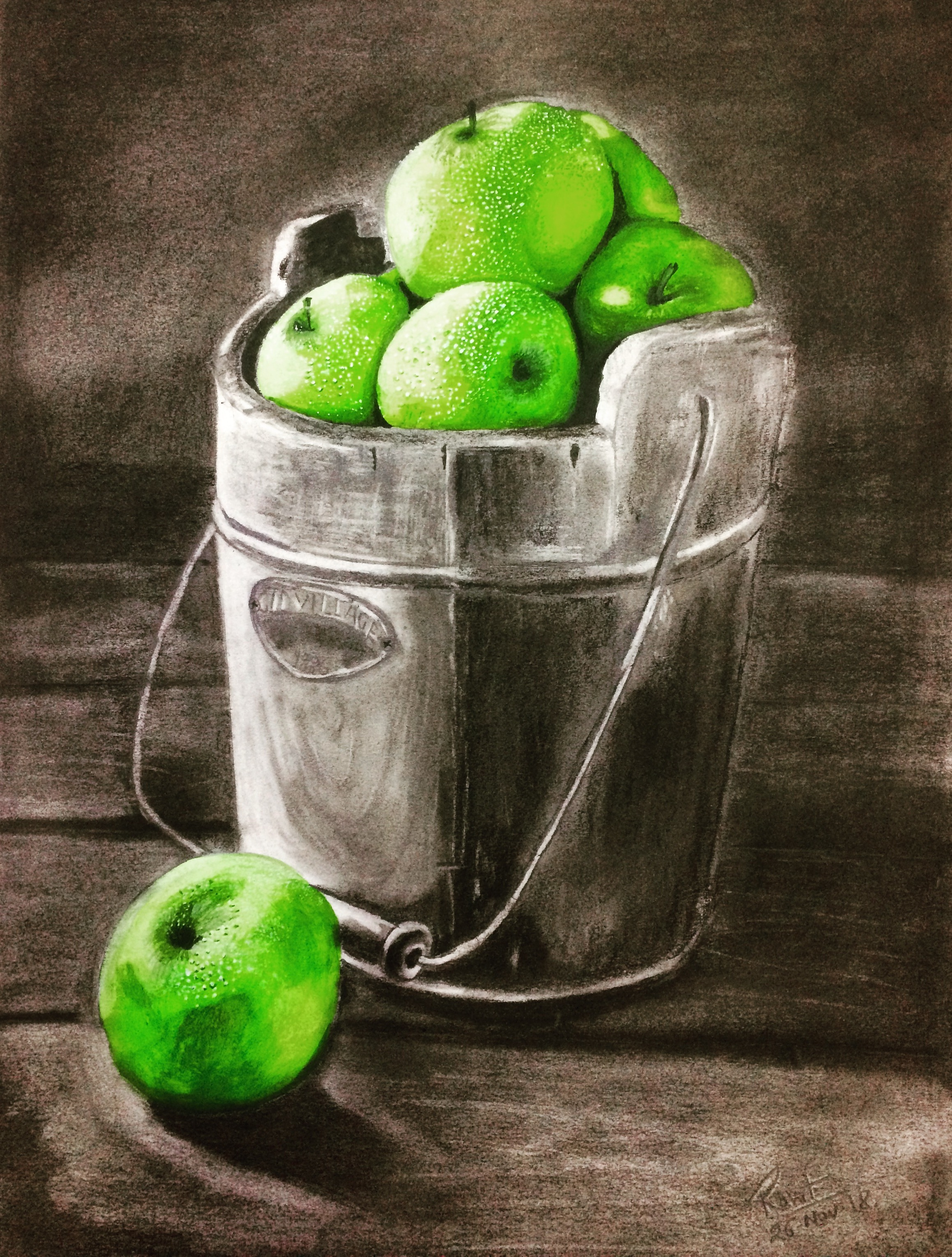 Fresh Apple  200 GSM PAPER, 12″ x 18″  CHARCOAL / WATERCOLOUR.