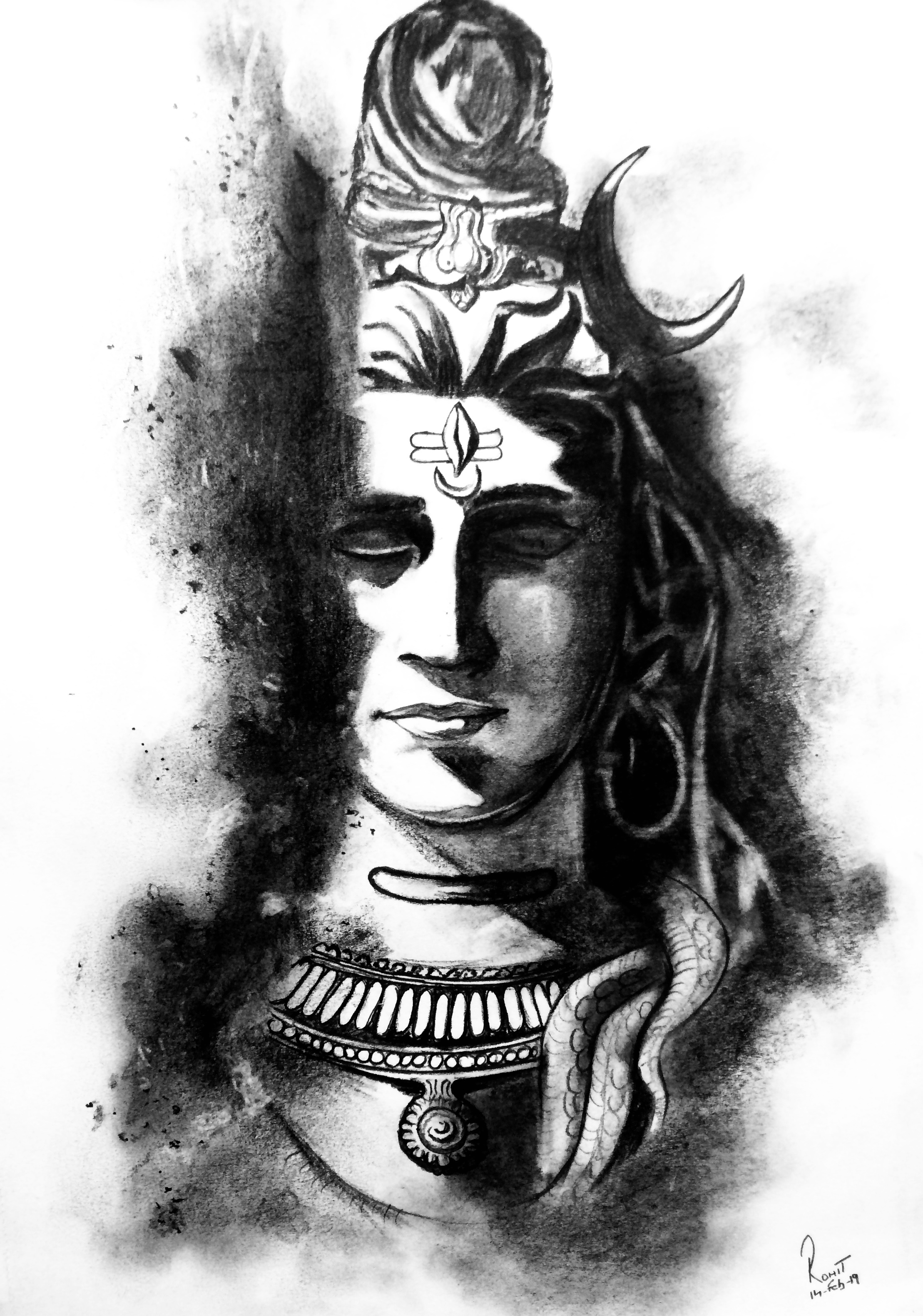 Lord Shiva  200 GSM PAPER, 12″ x 18″  CHARCOAL