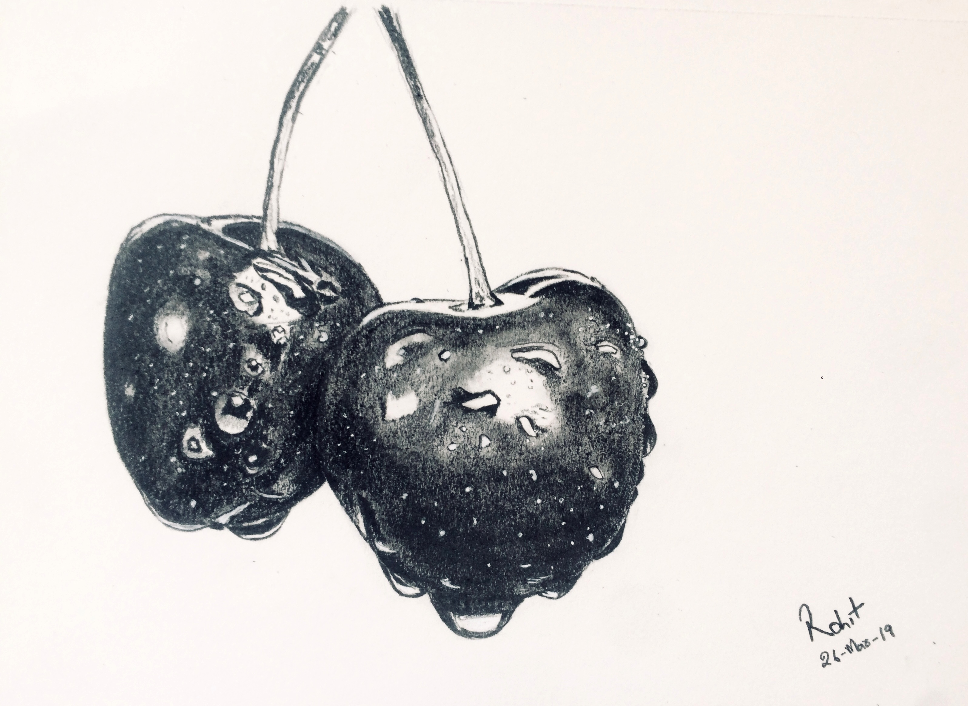 Cherries, 200 GSM PAPER, 6″ x 8″ CHARCOAL