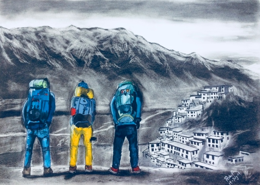 Himalayan Backpackers  200 GSM PAPER, 12″ x 18″  CHARCOAL / WATERCOLOUR.