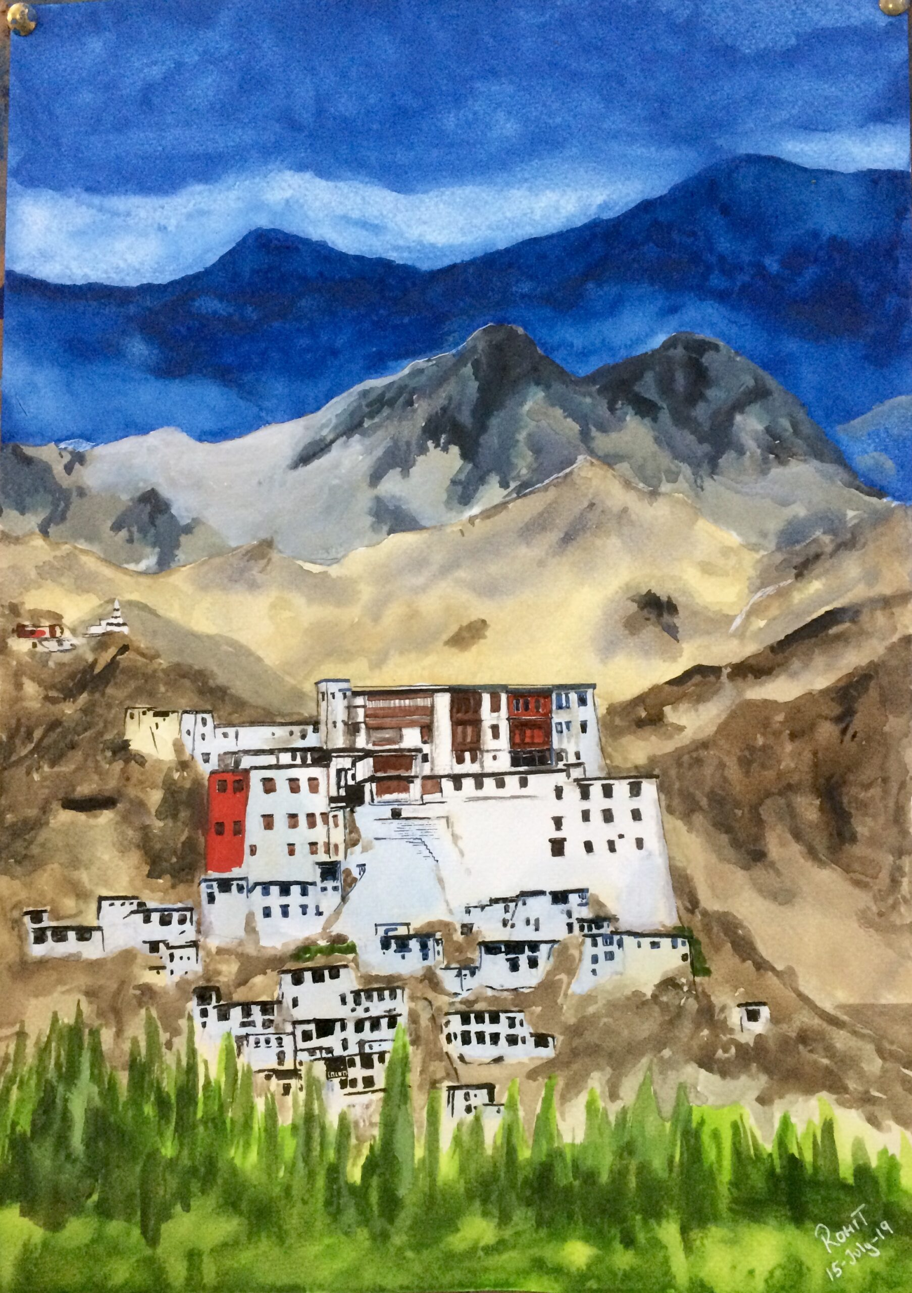 """Ladakh Monastery, Water colours, 200gsm Paper, size - 12"""" x 18"""""""