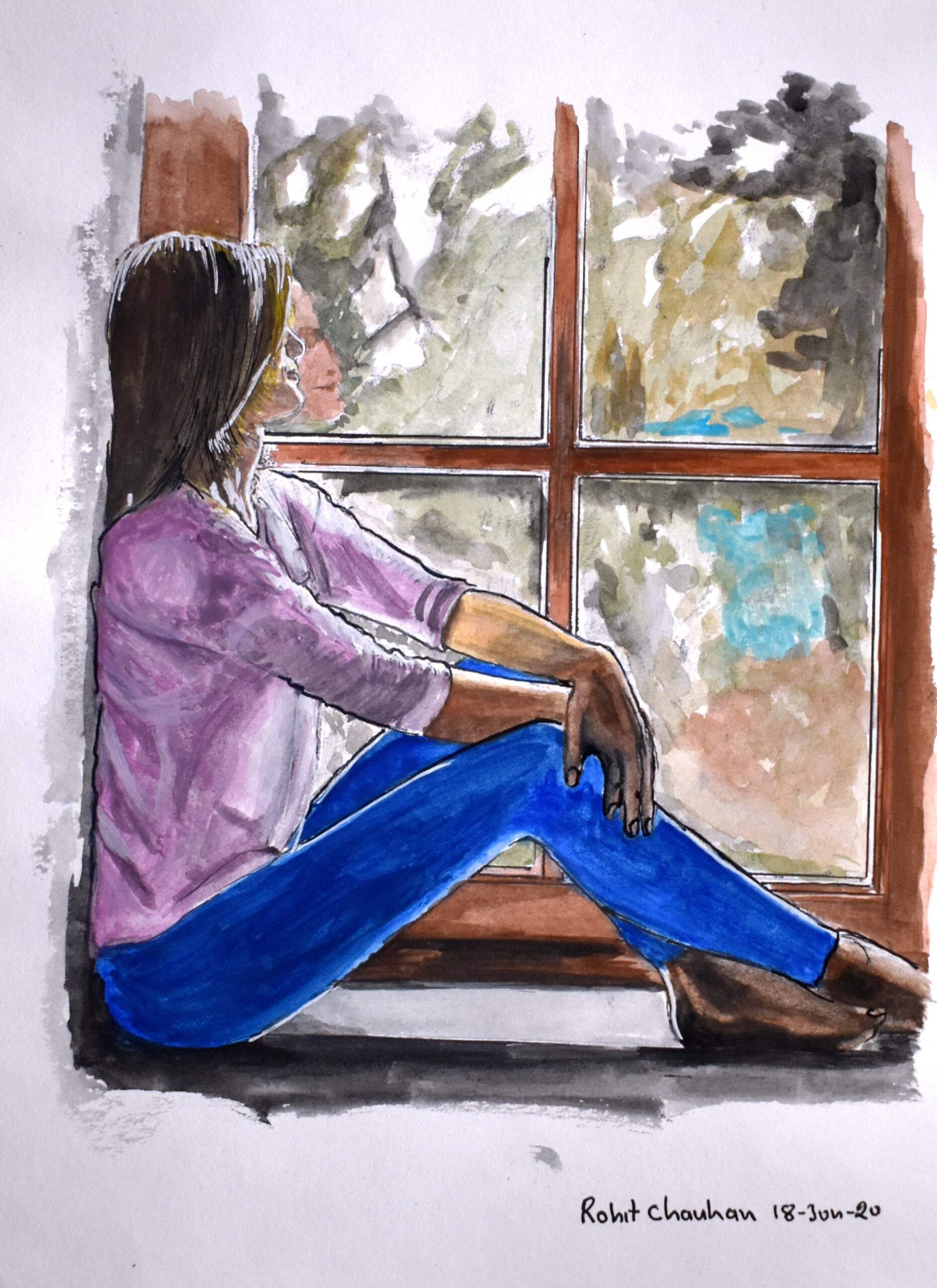 """Girl on Window, Water Colour, 200gsm Paper, Size - 6"""" x 8"""""""