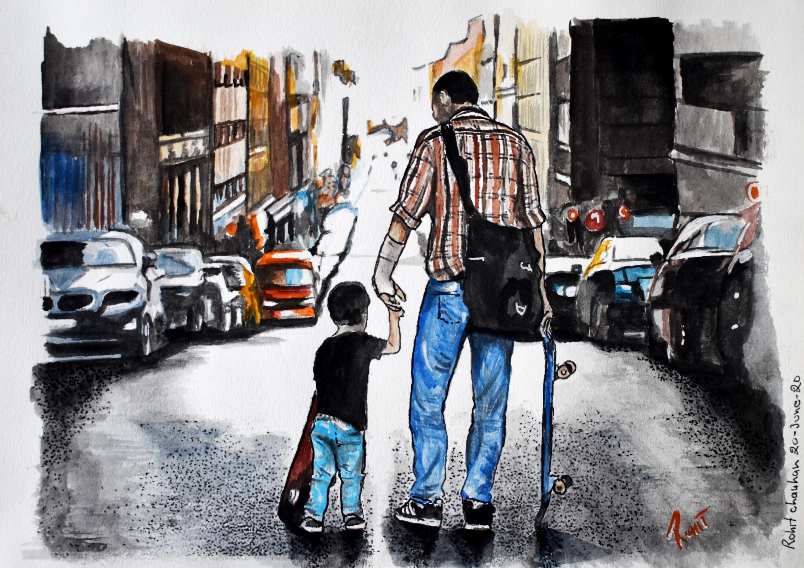 "Father and son, Water Colour, 200gsm Paper, Size - 6"" x 8"""