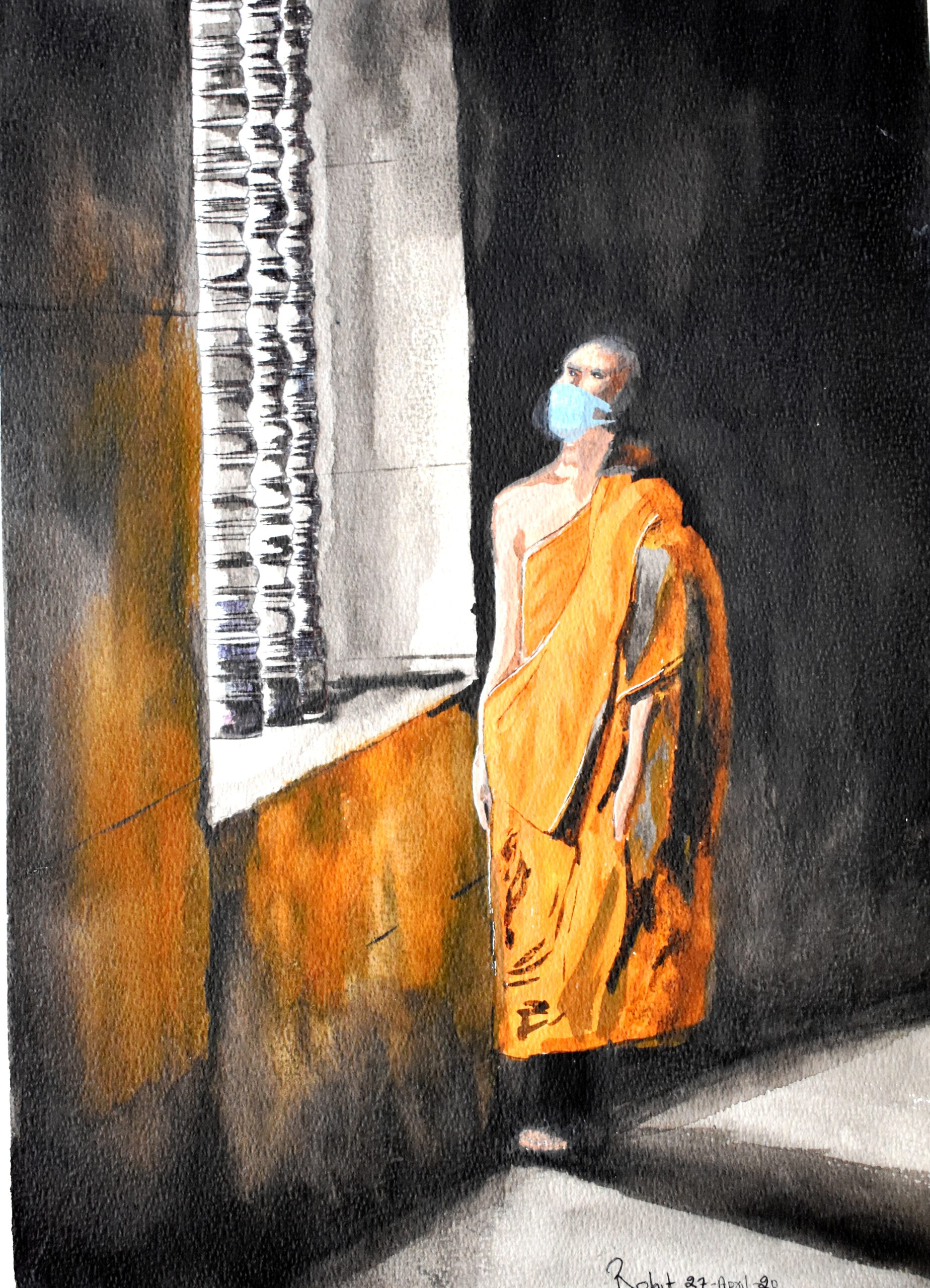 "Monk on Window light, 200 GSM PAPER, WATERCOLOUR 12"" x 18"""